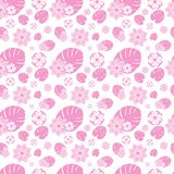 Pink Tropical Floral Flower Repeat Pattern. White and Pastel Pink Tropical Floral Flower Seamless Repeating Pattern royalty free illustration