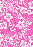 Pink tropical in repeat pattern. Royalty Free Stock Images