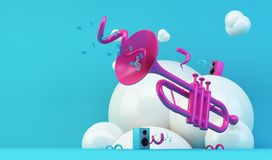 Pink trumpet illustration on blue background. Trumpet colorful 3d rendering abstract illustration royalty free illustration