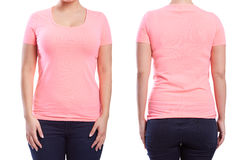 Pink tshirt on a young woman Royalty Free Stock Photos