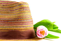 Pink tulip and colored straw hat. On a white background Stock Images