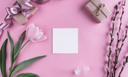 Pink tulip flower and sheet of paper over light pink background. Greeting card or wedding invitation. Flat lay, top view stock photos