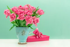 Pink tulip flowers and gift box Stock Photography