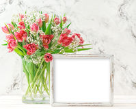 Pink tulip flowers wooden picture frame copy space Royalty Free Stock Photography