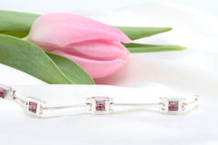 Pink tulip and silver bracelet Royalty Free Stock Photos