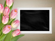 Pink tulips with blank black chalkboard. EPS 10 Royalty Free Stock Photo
