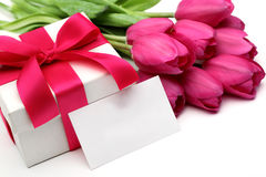 Pink tulips,blank card and gift box Stock Photos