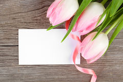 Pink tulips and blank card Royalty Free Stock Images