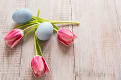 Pink Tulips and blue Easter Eggs From Above. On wood background with room for text Stock Images