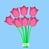 Pink tulips bouquet. Flat icon on a blue background Stock Photos