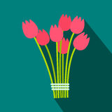 Pink tulips bouquet flat icon. On a blue background Royalty Free Stock Photo