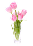 Pink tulips bouquet in vase Royalty Free Stock Photos