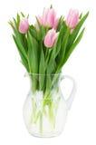 Pink tulips bouquet in vase Stock Photos