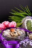 Pink tulips and brown eggs with purple ribbon easter decoration Stock Images