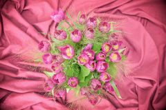 Pink tulips bunch seen from above Stock Photo