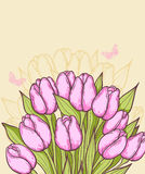 Pink tulips and butterflies. Decorative vector background with pink tulips and butterflies Stock Photography