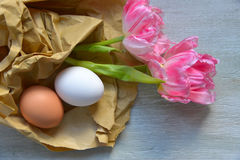 Pink tulips and Eggs Stock Photography