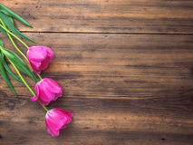 Pink tulips, floral arrangement on wooden background from old boards and a space for messages. Background for Mother`s Royalty Free Stock Photography