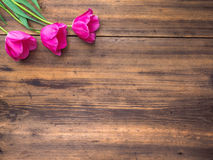 Pink tulips, floral arrangement on wooden background from old boards and a space for messages. Background for Mother`s Stock Photography