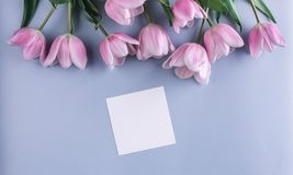 Pink tulips flowers and sheet of paper over light blue background. Greeting card or wedding invitation. Flat lay, top view, copy space stock photo