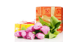 Pink tulips and gift box Stock Photos
