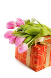 Pink tulips and gift box Stock Photography