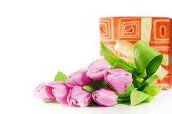 Pink tulips and gift box Royalty Free Stock Images