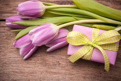 Pink  tulips with a gift box Stock Photos