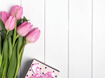 Pink tulips and gift box Royalty Free Stock Image