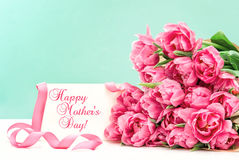 Pink tulips greeting card Happy Mothers Day Stock Images