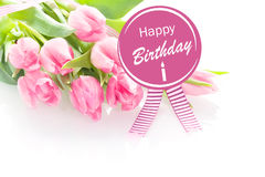 Pink tulips with a Happy Birthday greeting Stock Photography