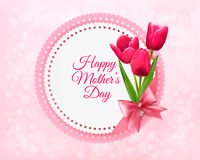 Pink tulips with Happy Mother's Day gift card. Royalty Free Stock Photo