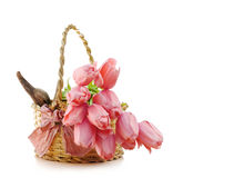 PINK TULIPS INSIDE WICKER BASKET Stock Photo