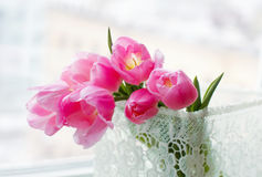 Pink tulips in the lace box Stock Photography