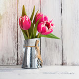 Pink tulips in metal pitcher Stock Images