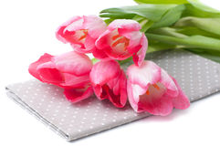 Pink tulips and a napkin Stock Photo