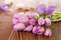 Pink Tulips On Wooden Planks Stock Photo