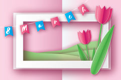 Pink Tulips. Paper cut flower. 8 March. Women`s Day. Rectangle frame royalty free illustration