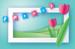 Pink Tulips. Paper cut flower. 8 March. Women`s Day. Rectangle frame. Pink Tulips paper cut flower. 8 March Women`s Day Greeting card. Origami Floral bouquet royalty free illustration