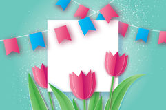 Pink Tulips. Paper cut flower. 8 March. Women`s Day. Square frame. Pink Tulips paper cut flower. 8 March Women`s Day Greeting card. Origami Floral bouquet royalty free illustration