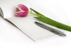 Pink tulips, pen, note Royalty Free Stock Photo