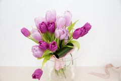 Pink tulips. Pimk tulips in vase at house stock image