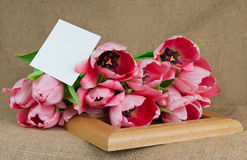 Pink tulips with postcard lying on the wooden frame Royalty Free Stock Images