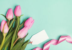 Pink tulips, ribbon and empty gift tag on pastel green backgroun Royalty Free Stock Image