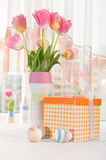 Pink tulips in vase Stock Photos