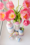 Pink tulips in vase Stock Photo