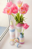 Pink tulips in vase Stock Image