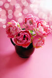 Pink tulips in vase Royalty Free Stock Photos