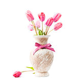 Pink tulips in vase Stock Images