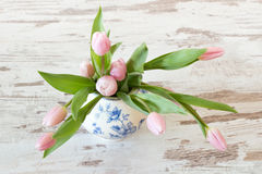 Pink tulips in a vase Stock Photography